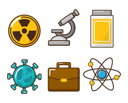 Satz von Laborwerkzeug-Wissenschaftsvektorillustration Vektorgrafik
