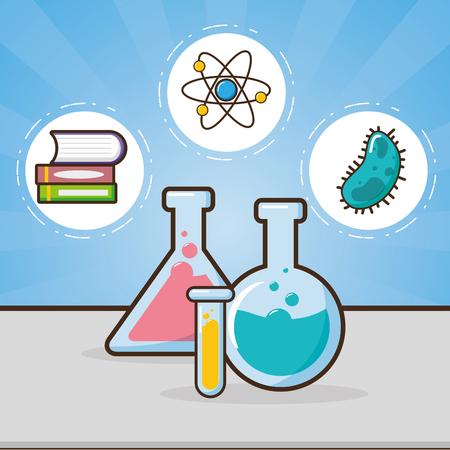 Reagenzgläser Buch Bakterien Zellen Labor Werkzeug Wissenschaft Vektor Illustration