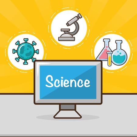 computer equipment laboratory tools science vector illustration