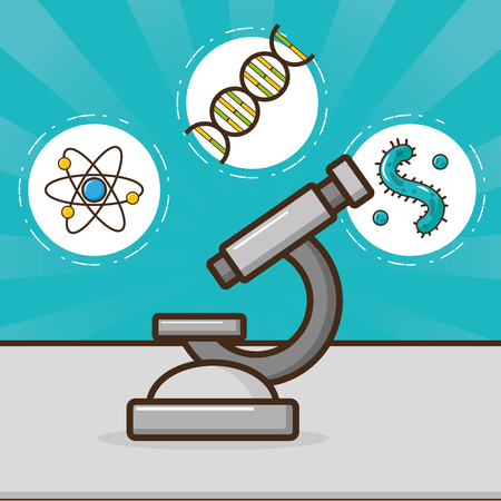 microscope molecule atom cells laboratory tool science vector illustration