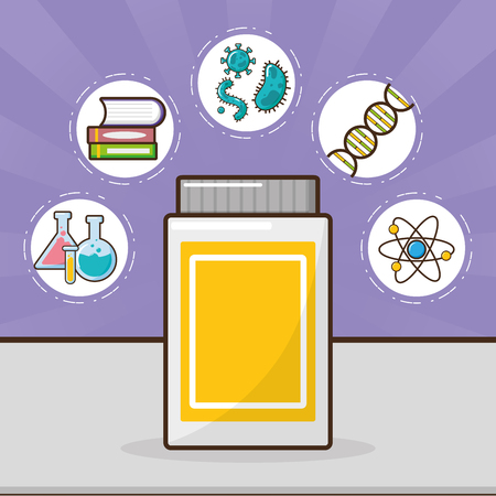 sample flask cells laboratory tool science vector illustration