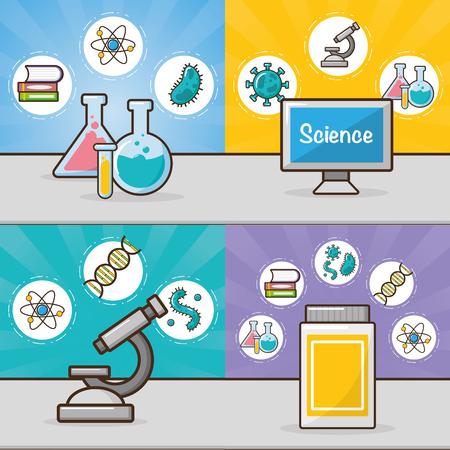 banner microscope flasks bottle computer laboratory tool science vector illustration