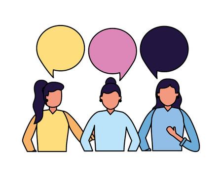 team women talking speech bubble vector illustration
