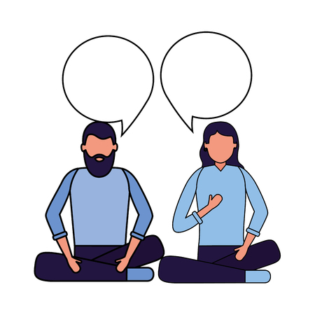 man and woman speech bubble vector illustration