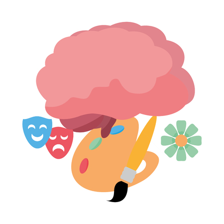cerebro, cine, idea, creatividad, vector, ilustración