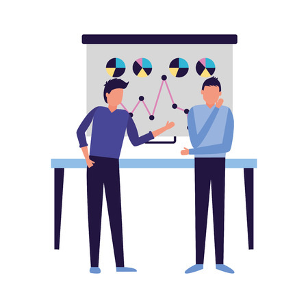 two man board presentation chart business work vector illustration Ilustração