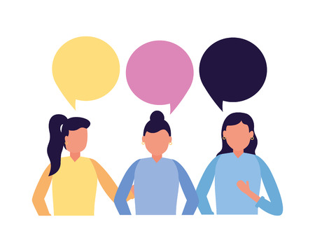 team women talking speech bubble vector illustration