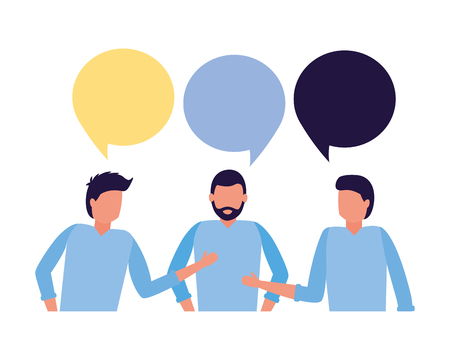 team men talking speech bubble vector illustration