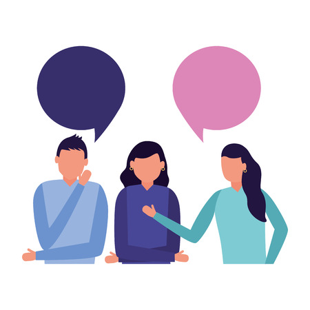 team man and women talking speech bubble vector illustration