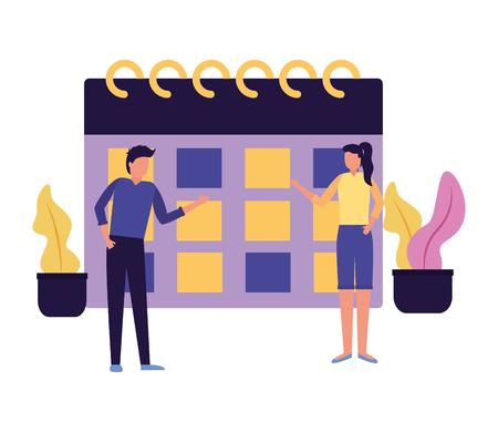 man and woman calendar planning business work vector illustration