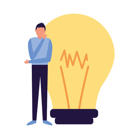 man thinking creativity bulb business work vector illustration Illustration