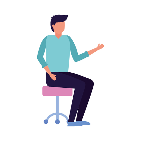 man sitting on office chair on white background vector illustration Illustration