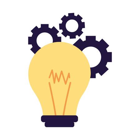 creativity bulb gears on white background vector illustration