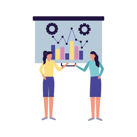 business women presentation board chart vector illustration Illustration