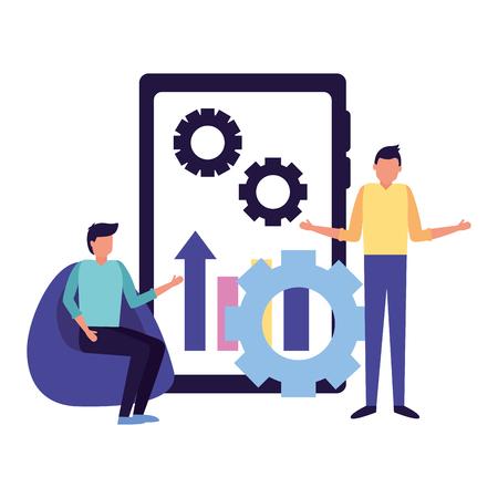 two men mobile chart gear business work vector illustration