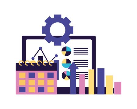 mobile gear chart calendar business vector illustration Illustration