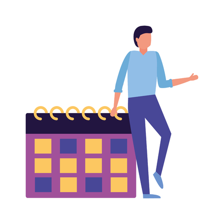 business man calendar reminder work vector illustration