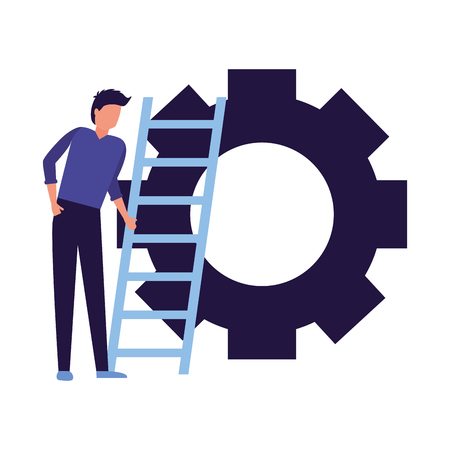 business man stairs gear work vector illustration