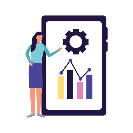 woman mobile report business work vector illustration