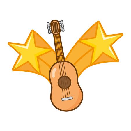 guitar instrument stars on white background vector illustration Illustration