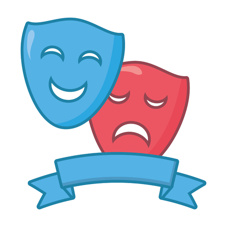 drama comedy mask theater ribbon vector illustration