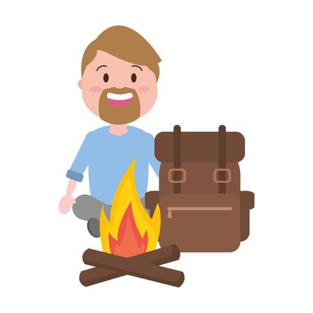 man tourist travel bag bonfire vector illustration Illustration