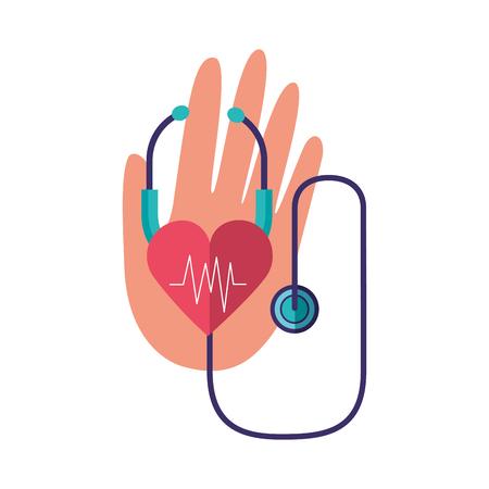 hand stethoscope heartbeat world health day vector illustration