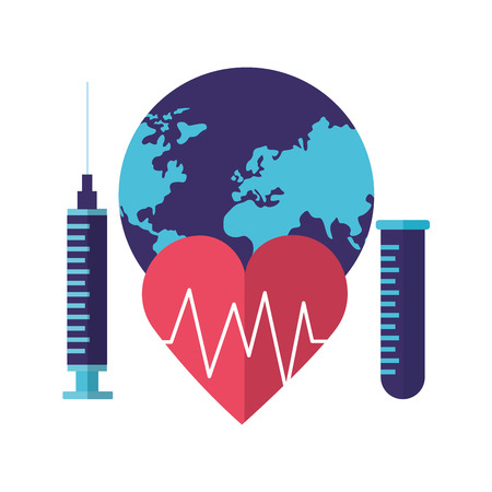 heartbeat syringe and pippete world health day vector illustration