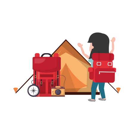 woman travel backpack tent camping camera compass vector illustration