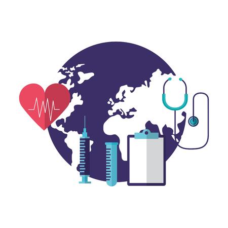 Zwischenablage Spritze Stethoskop Herzschlag Weltgesundheitstag Vektor-Illustration Vektorgrafik
