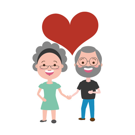 old man and woman holding hands love vector illustration