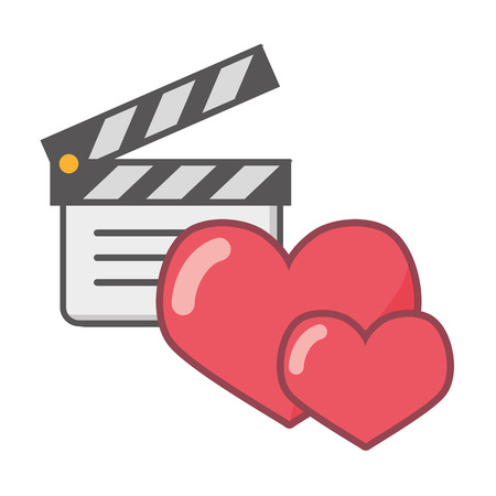 clapperboard love hearts feeling white background vector illustration