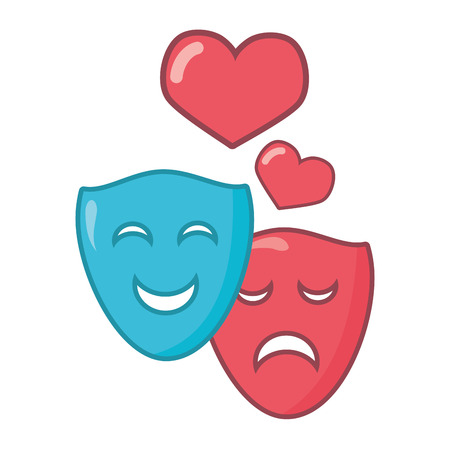 drama comedy masks hearts white background vector illustration Stock Illustratie