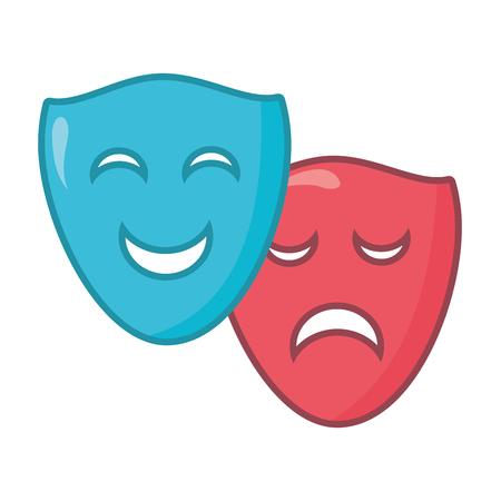 drama comedy masks theater on white background vector illustration Illusztráció