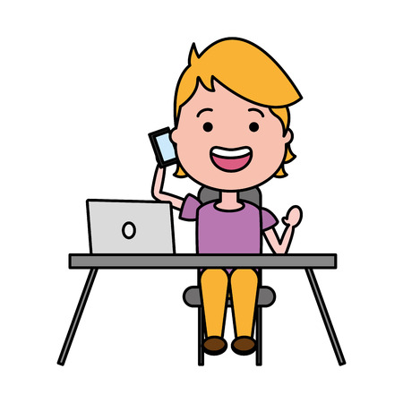 young boy with cellphone desk laptop tech device vector illustration