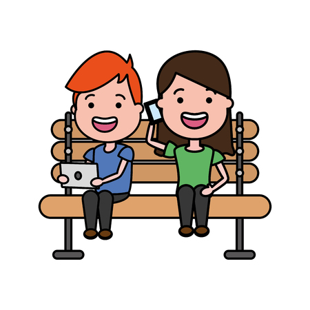 woman with mobile and guy laptop on bench vector illustration Illustration