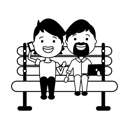people with mobile laptop on bench vector illustration Stock Vector - 124715300