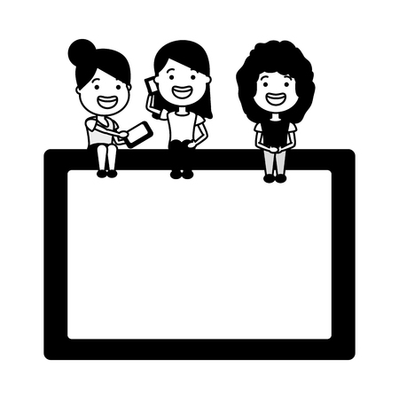 young women sitting on tablet with cellphone tech device vector illustration