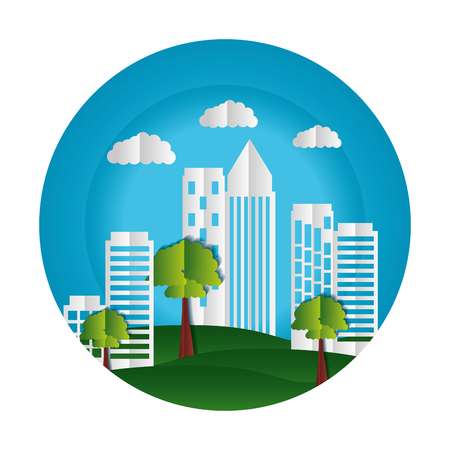 buildings trees sky paper origami cityscape vector illustration