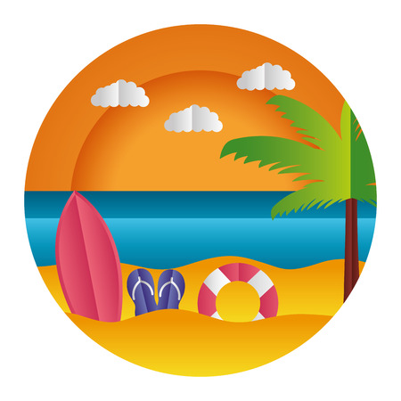 surfboard sandals float palm paper origami landscape vector illustration Illustration