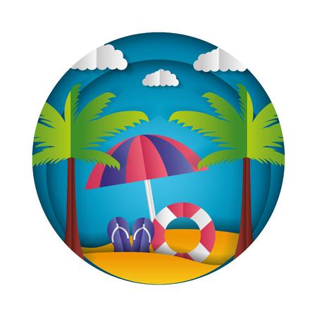 sandals lifebuoy sun palms paper origami landscape vector illustration Ilustração