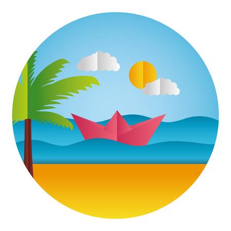 boat pam tree ocean paper origami landscape vector illustration
