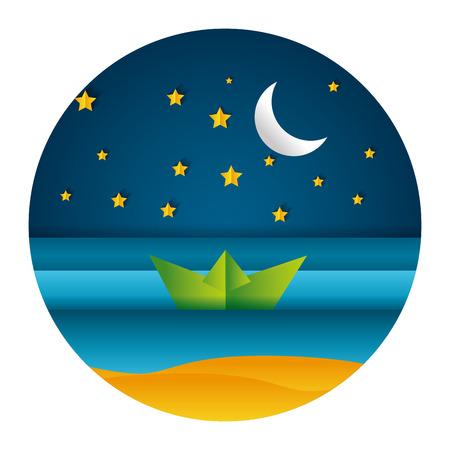 boat birds moon night paper origami landscape vector illustration