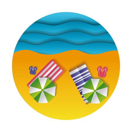 top view beach towels umbrella sea paper origami landscape vector illustration