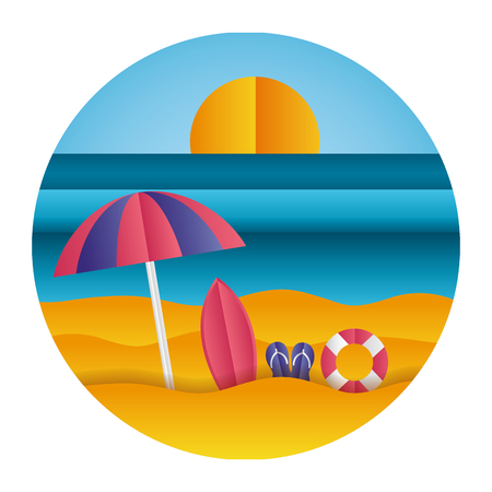 surfboard sandals umbrella sea paper origami landscape vector illustration