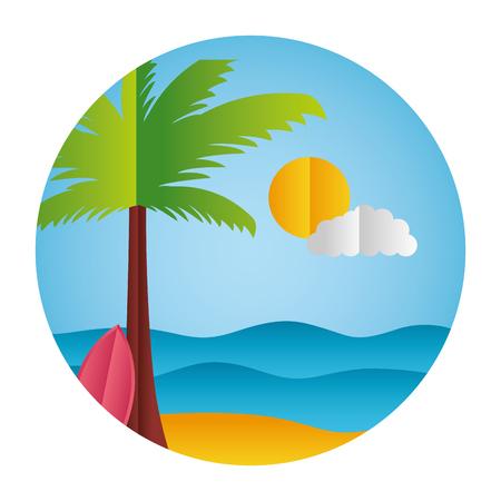 palm surfboard sun sea paper origami landscape vector illustration