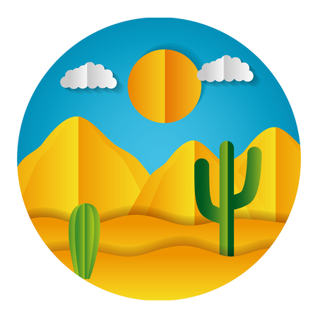 desert cactus dunes paper origami landscape vector illustration Stock Illustratie
