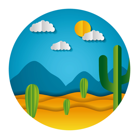 desert cactus sky paper origami landscape vector illustration