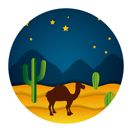 camel desert night stars paper origami landscape vector illustration