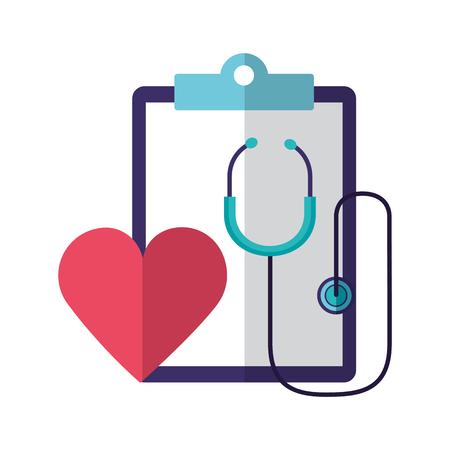 Estetoscopio latido del corazón informe del portapapeles día mundial de la salud ilustración vectorial